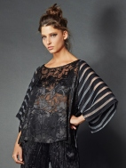 Sheer Brocade Raglan Top by Alembika