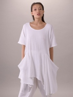 Textured Knit Tunic Dress, White by Composition