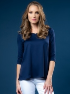 The A-Line 3/4 Sleeve V-Neck Top by A'nue Miami
