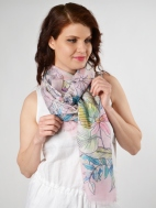 Tinted Floral Print Scarf by Kinross Cashmere