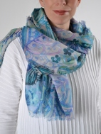 Watercolor Paisley Print Scarf by Kinross Cashmere