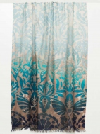 Weathered Botanical Print Scarf by Kinross Cashmere