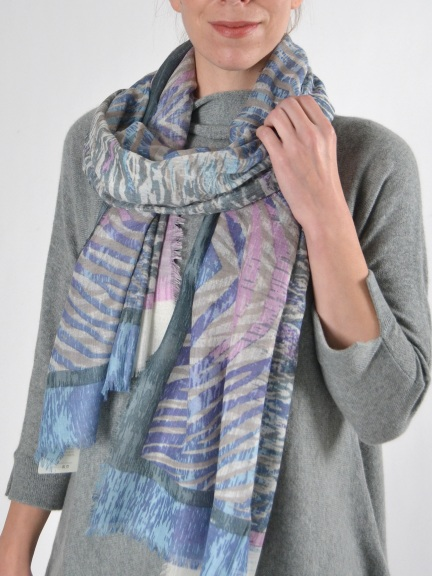 Animal Ikat Print Scarf by Kinross Cashmere