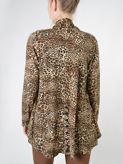 Annie Leopard Open Cardigan by Comfy USA