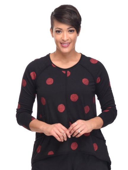 Black Presley Top, Red Thumbprint by Snapdragon & Twig