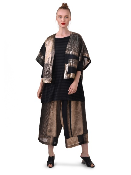 Black and Gold Shimmer Striped Kimono by Alembika