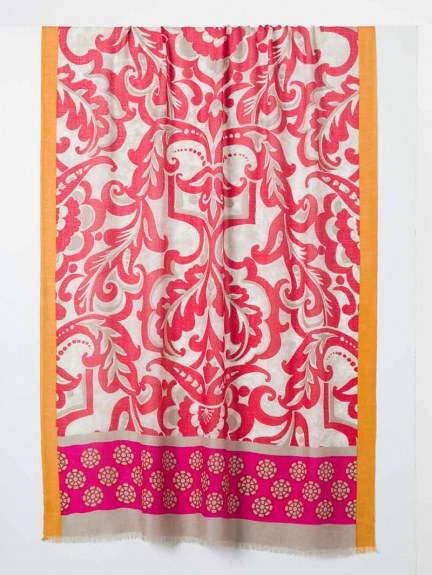 Cali Medallion Print Scarf by Kinross Cashmere