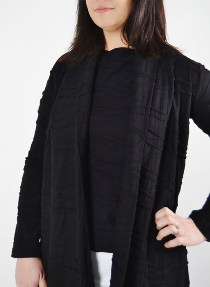 Crinkle-Wave Shawl Cardigan by Klok