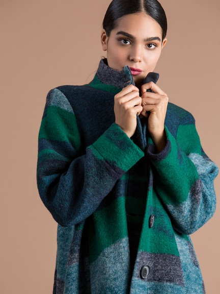 Cyan Boiled Wool Jacket by Alembika
