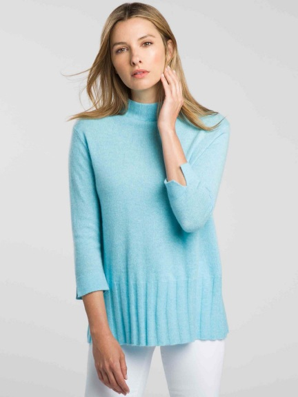 Easy Rib Trim Funnel Sweater by Kinross Cashmere