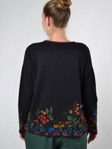 Floral Border Pullover Sweater by Ivko