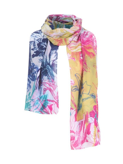 Floral Print Cotton Scarf by Ivko