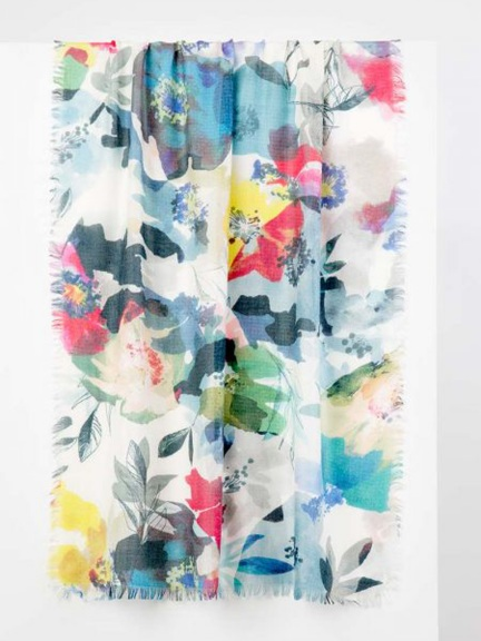 Fresh Posies Print Scarf by Kinross Cashmere