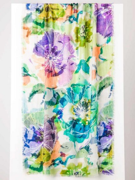Giverny Floral Print Scarf by Kinross Cashmere