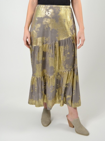 Gold Patina Mesh Tiered Skirt by Alembika