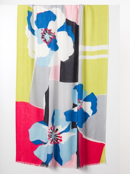 Pop Floral Print Scarf by Kinross Cashmere