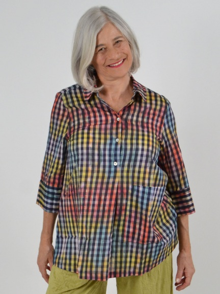 Sheer Gingham Overdyed Blouse by Alembika