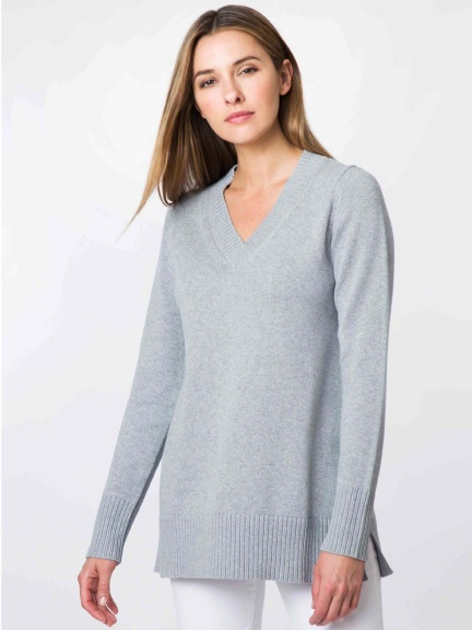 Swing Vee Tunic Sweater by Kinross Cashmere
