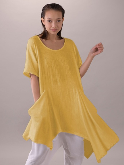 Textured Knit Tunic Dress, Acid Yellow by Composition