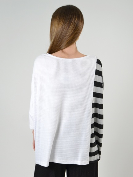 White/Metallic Striped Dolman Top by Alembika