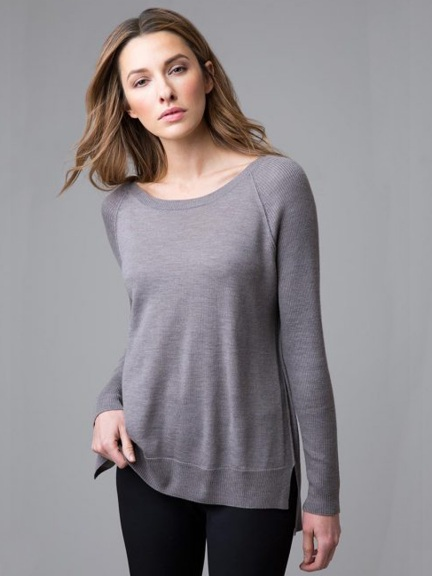 Worsted Hi Low Crewneck by Kinross Cashmere